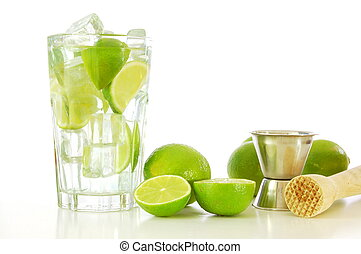 Caipirinha and copyspace - green Caipirinha cocktail drink...