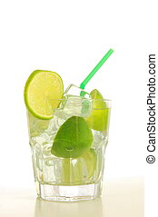 Caipirinha cocktail - cool drink with green lime on white...