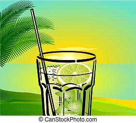 caipirinha, cocktail, fond