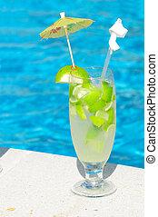 Caipirinha cocktail near the swimming pool