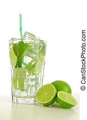 Caipirinha cocktail with green lemon and ice cubes...