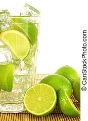 Caipirinha party cocktail with lemon and ice cubes...