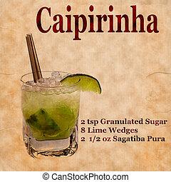 Caipirinha recipe - Old,vintage or grunge Recipe Notebook...