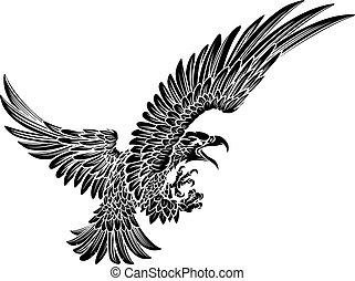 cair, águia, pássaro