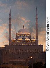 caire, coucher soleil, minarets, citadelle