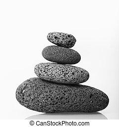 cairn, de, liso, stones.