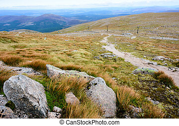 Cairn Gorm Mountain summit in the Cairngorm National Park -...