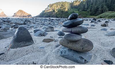 cairn, liso, pedras praia
