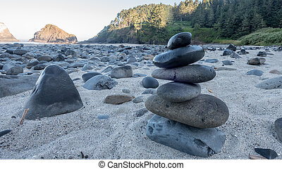 Cairn of Smooth Beach Rocks