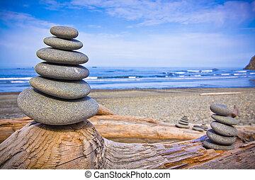 cairn, playa, costero, roca