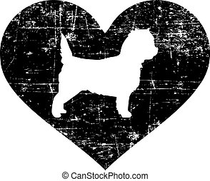 Cairn Terrier in heart black and white