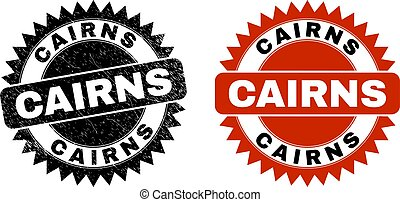 CAIRNS Black Rosette Stamp with Unclean Texture