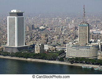 Cairo aerial view with Nile - foggy aerial view of Cairo in...
