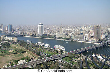 Cairo aerial view with Nile river - aerial view of Cairo in...