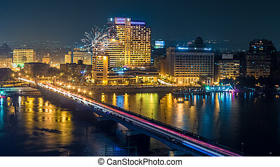 Cairo at night - Aerial view of the city of Cairo along the...