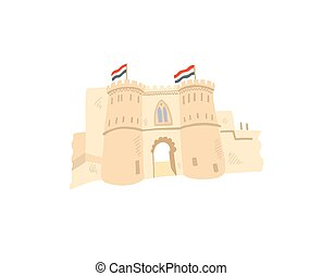 cairo citadel hand drawing icon in minimalistic style,...