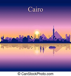 Cairo city silhouette on sunset background