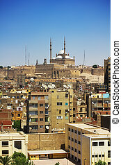 Cairo cityscape - The view on Cairo with Alabaster mosque at...