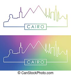 Cairo skyline. Colorful linear style.