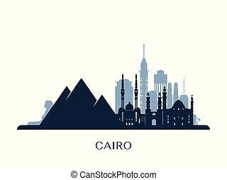 Cairo skyline, monochrome silhouette.