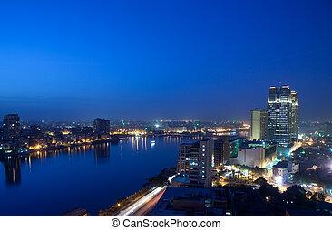 cairo, skyline, noturna, através, panorama