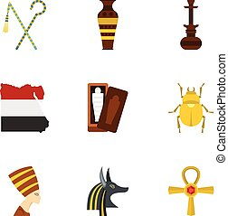 Cairo travel icons set, cartoon style - Cairo travel icons...