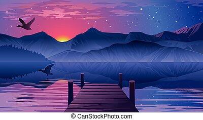 cais, lago, vista