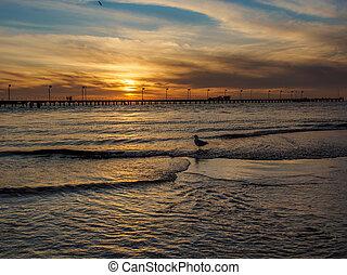 cais, pôr do sol, praia