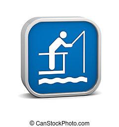 cais, pesca, sinal