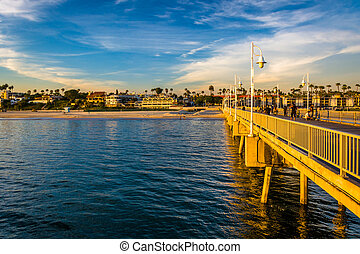 cais, praia, belmont, longo, california.