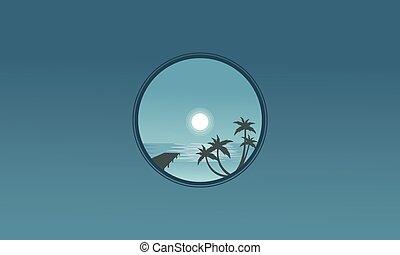 cais, silhuetas, palma, paisagem, noturna