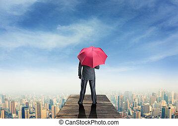 cais, standind, guarda-chuva, homem
