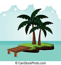 cais, tropicalisland, árvore palma