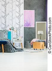 caisse bois, confortable, chambre à coucher