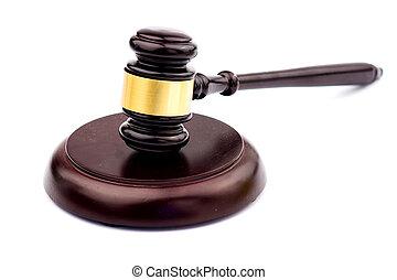 caisse de résonnance, bois, isolé, juge, fond, marteau, blanc
