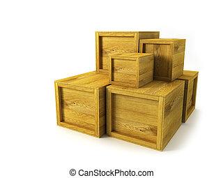 caisses, bois, plusieurs