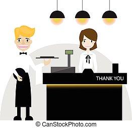 caissier, plat, conception, restaurant