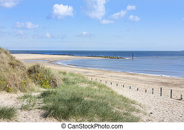 Beach at caister on sea in norfolk in springtime