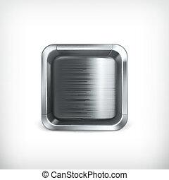 caixa, ícone, app, vetorial, metal