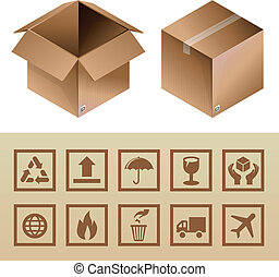 caixa, ícones, empacote entrega, vetorial, papelão