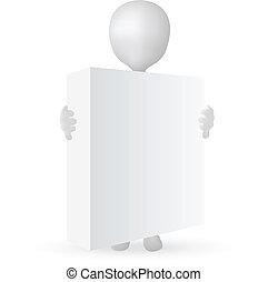 caixa, 10, -, eps, vetorial, segurar passa, pequeno, 3d, homem