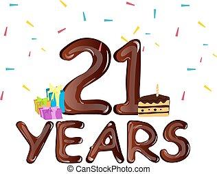 caixa, 21st, presente, aniversário, desenho, celebração