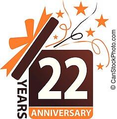 caixa, 22, presente, aniversário, anos, fita