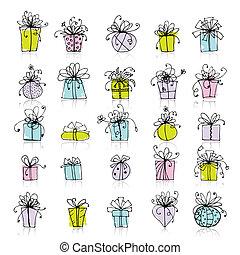 caixa, 25, presente, ícones, desenho, seu