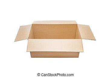 caixa, aberta, papelão
