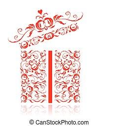 caixa, aberta, presente, ornamento, stylized, desenho, floral