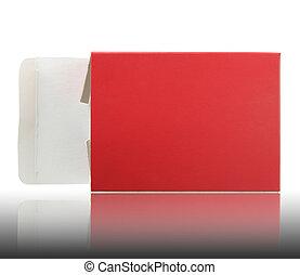 caixa, aberta, vermelho, pacote