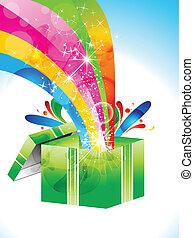 caixa, abstratos, magia, coloridos