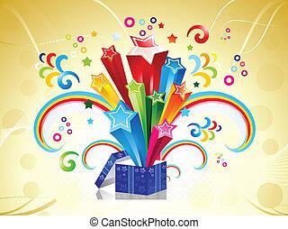 caixa, abstratos, vetorial, magia, coloridos