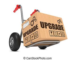 caixa, actualização, -, mão, papelão, truck.